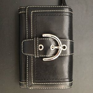 Coach black leather wallet with buckle